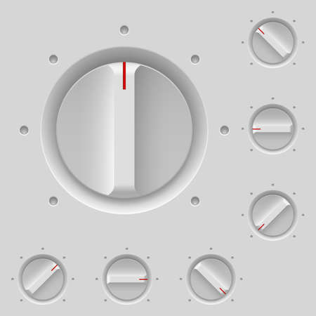 adjusting: Control panel with switches. Illustration on gray
