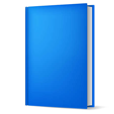 blank book: Illustration of classic blue book in front vertical view isolated on white background.