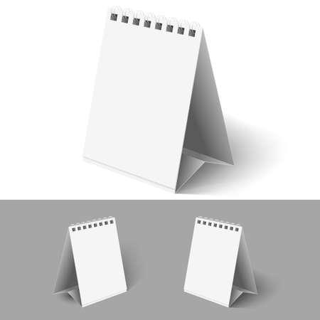 calendario da tavolo: Tabella vuota calendari fogli mobili su sfondi bianchi e grigi. Vettoriali