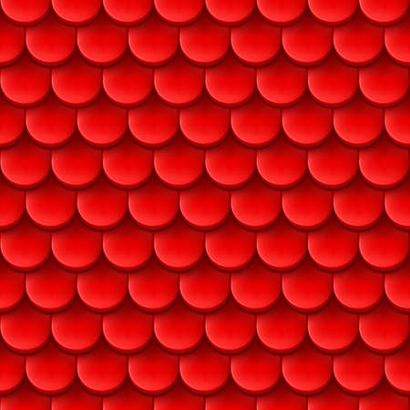 Abstract background with roof tile pattern in red color. Vector