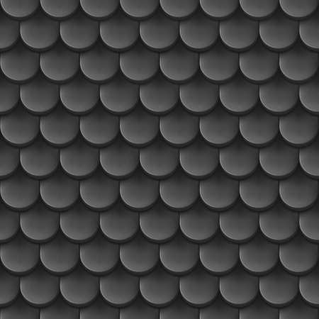 Abstract background with roof tile pattern in black color. Vector