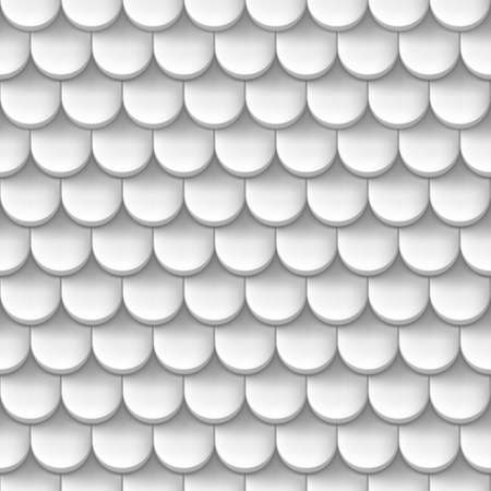 Abstract background with roof tile pattern in white color. Vector