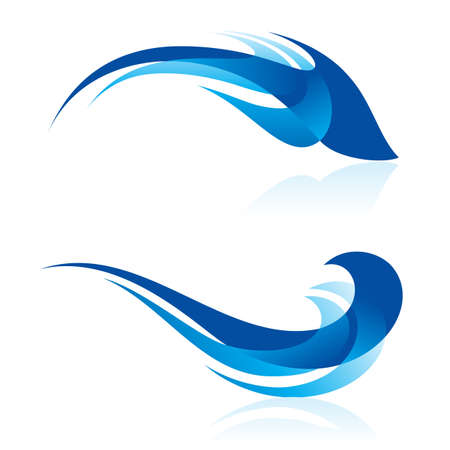 Abstractie van twee blauwe elementen op wit. Vloeiende lijnen en curven lijken zeedieren in abstracte ontwerp.