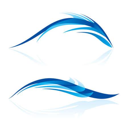 흰색에 파란색 음영이 요소의 추상화입니다. 부드러운 라인과 곡선 추상 디자인 바다 동물처럼.