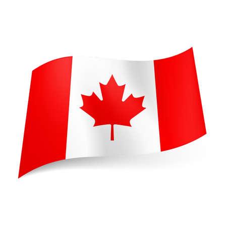 Drapeau national du Canada: bandes verticales rouges et blanches avec feuille d'érable au centre.
