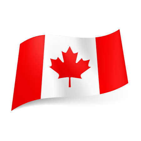 canadian icon: National flag of Canada: red and white vertical  stripes with maple leaf in centre. Illustration