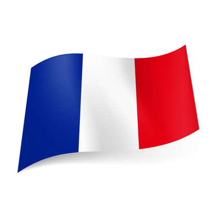 flag french icon: National flag of France: blue, white and red vertical stripes. Illustration
