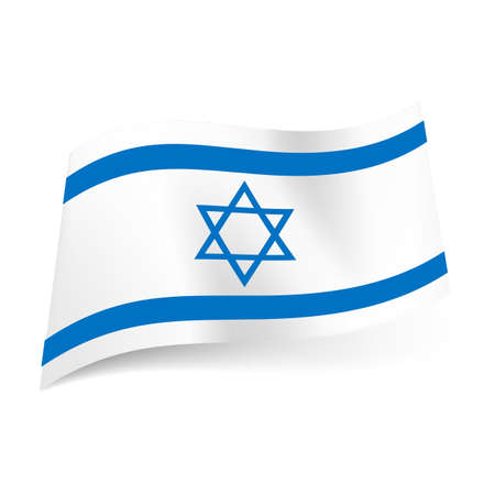 National flag of Israel: blue hexagram between two horizontal blue stripes.
