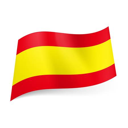 National flag of Spain: wide yellow stripe between two horizontal red ones.
