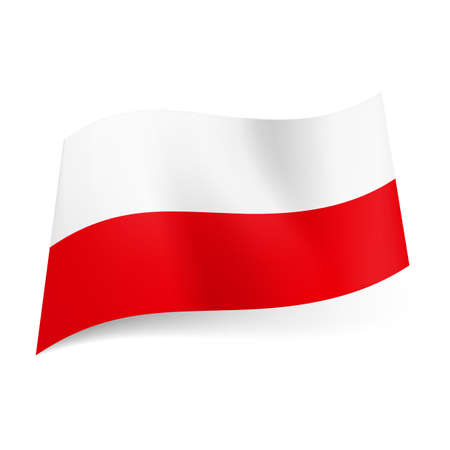 National flag of Poland: white and red horizontal stripes. Vector