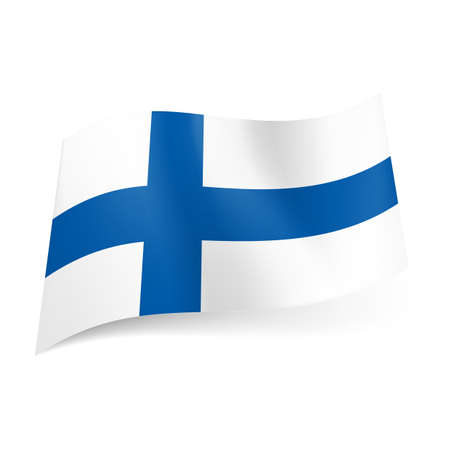 National flag of Finland: blue cross on white background. Vector
