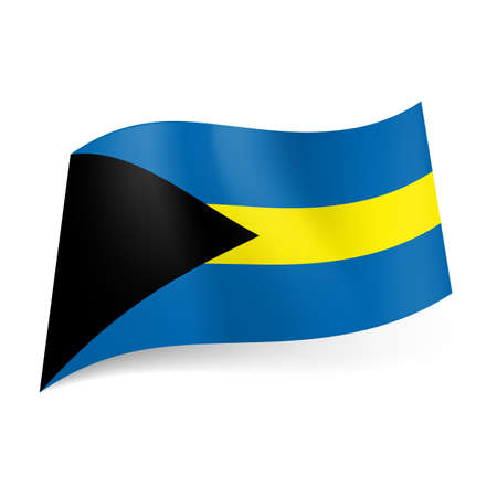 National flag of Bahamas: blue and yellow horizontal stripes with black triangle on the left. Stock Vector - 21576024