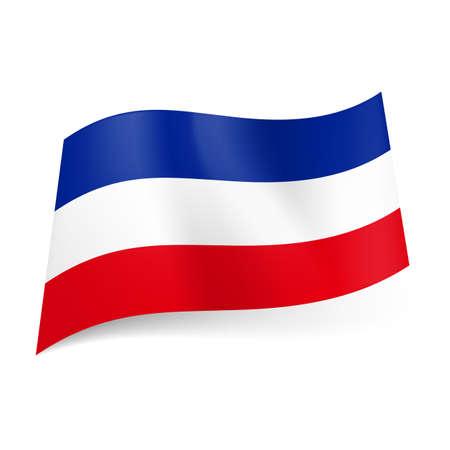 former yugoslavia: National flag of former state Yugoslavia: blue, white and red horizontal stripes. Illustration