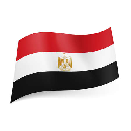 egypt flag: National flag of Egypt: red, white and black horizontal stripes with Eagle of Saladin in centre.