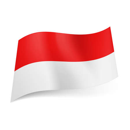 indonesian: National flag of Indonesia: red and white horizontal stripes.
