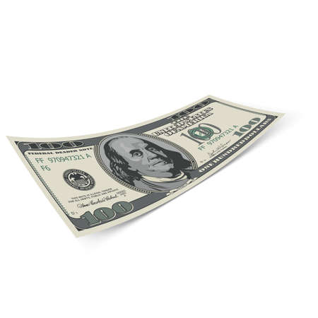 Hundred dollar banknote on white background. Money and banking.