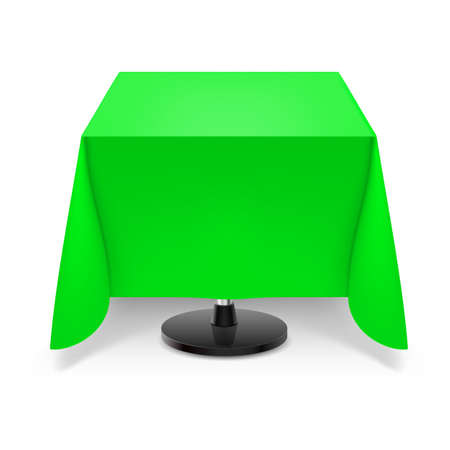 restaurant tables: Square dining table with green tablecloth and round leg isolated on white background.