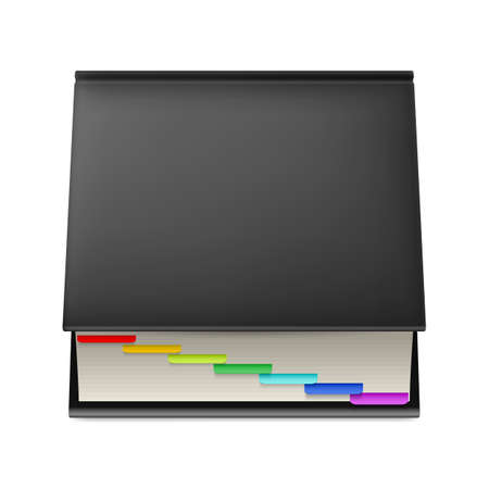 contact book: Black notebook with colorful markers isolated on white background.