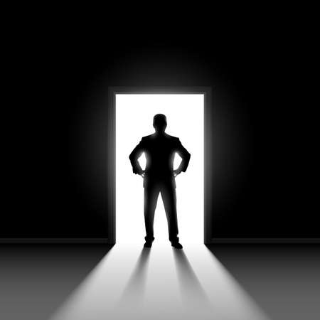Silhouette of man entering dark room with bright light in doorway.  Vector
