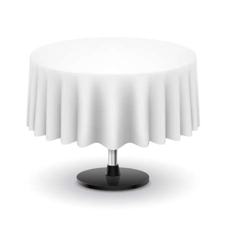 pleat: Classic round table with white cloth isolated on white background.