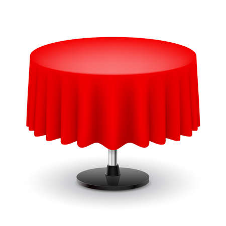 pleat: Classic round table with red cloth isolated on white background.  Illustration