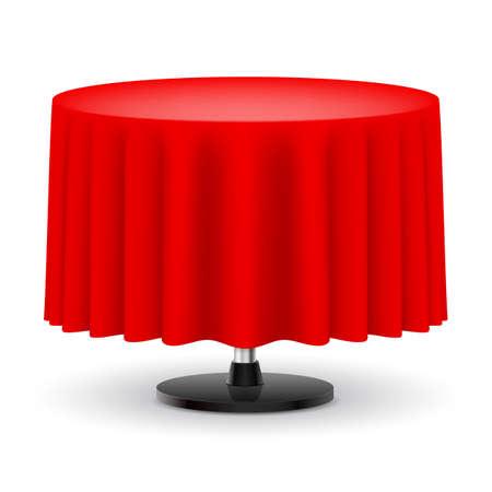 흰색 배경에 고립 된 빨간색 긴 천으로 클래식 라운드 테이블. 일러스트