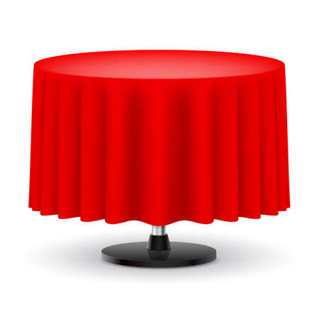 Classic round table with long red cloth isolated on white background.