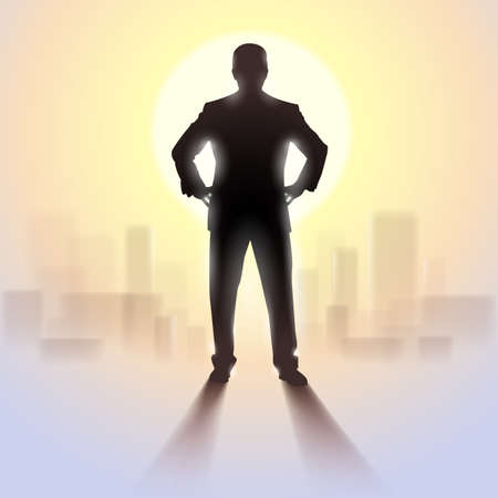 dominate: Black silhouette of man standing in bright sunlight with pale city outlines in background.