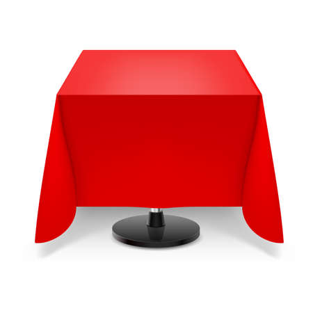 Square dining table with red tablecloth and round leg isolated on white background.