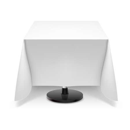 mesa de comedor: Mesa cuadrada con mantel blanco y una pierna redonda aislados sobre fondo blanco. Vectores