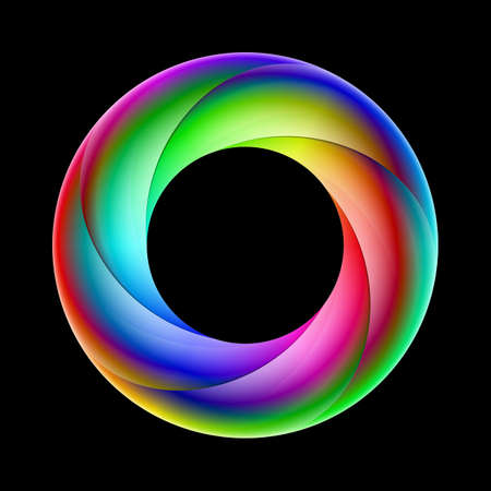 Illustration of spiral ring sparkling in bright colors on black background.
