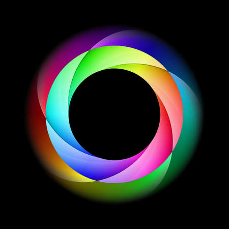diffused: Illustration of spiral ring in bright and diffused colors on black background. Illustration