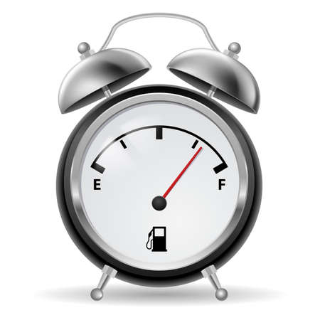 metal detector: Black-and-white fuel indicator in creative retro alarm clock design. Illustration on white.