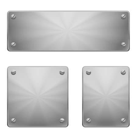 rivet: Three shiny metal plates of different size with slot screws isolated on white.