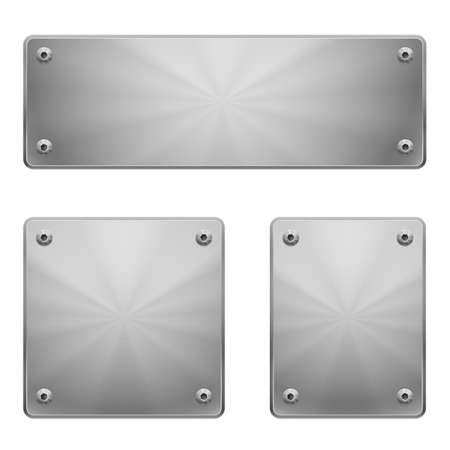 metal surface: Three shiny metal plates of different size with bolts isolated on white.