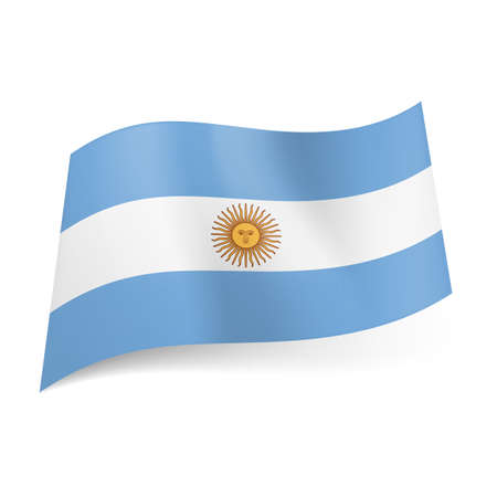 argentine: National flag of Argentina: central white stripe with sun between light blue ones.