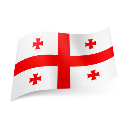 National flag of Georgia: central red cross with four Bolnisi crosses on white background.  Stock Vector - 21760526