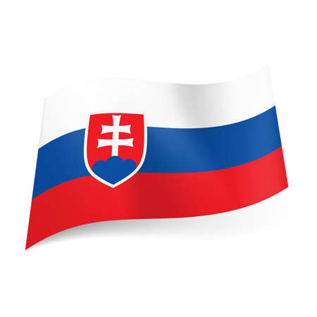 slovakia flag: National flag of Slovakia: white, blue and red horizontal stripes with coat of arms.
