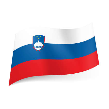 slovenia: National flag of Slovenia: white, blue and red horizontal stripes with coat of arms. Illustration