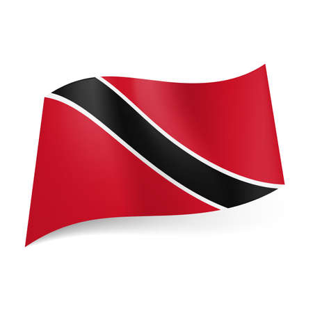 national flag trinidad and tobago: National flag of Trinidad and Tobago: black diagonal stripe with white border on red background.