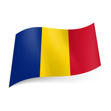 chadian: National flag of Chad: blue, yellow and red vertical stripes.