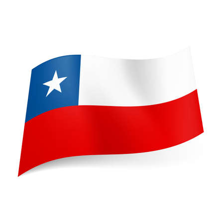 unequal: National flag of Chile: unequal white and red stripes, blue square with white star on upper stripe.
