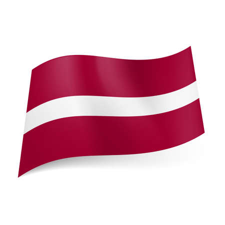 National flag of Latvia: narrow white stripe between dark red horizontal ones. Vector