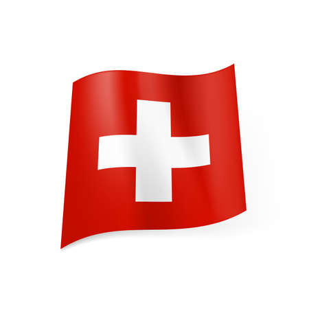 swiss culture: National flag of Switzerland: white cross in centre of red square field.  Illustration