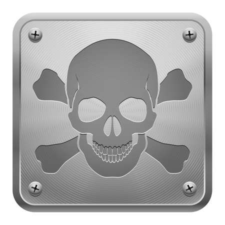 Metal tablet fixed with screws representing relief image of skull and cross-bones. Symbol of danger. Stock Vector - 21887737