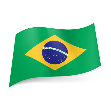 motto: National flag of Brazil: blue circle with starry sky and band with motto within yellow rhombus on green background.