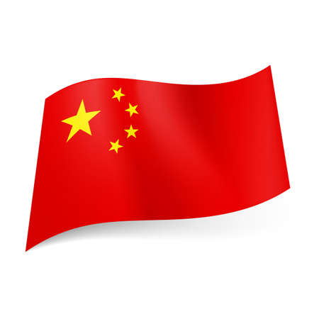 semicircle: National flag of China: big golden star with four smaller stars in semicircle in upper left corner of red field.  Illustration