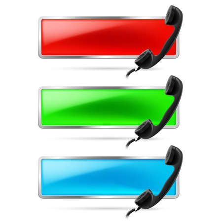 receiver: Set of three contact call signs in red, green and blue. Retro black phone receiver on the right. Hot line icons.