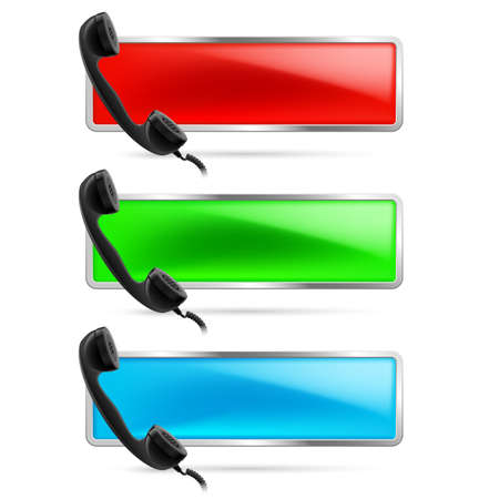 Set of three contact call signs in red, green and blue. Retro black phone receiver on the left. Hot line icons. Stock Vector - 21888354