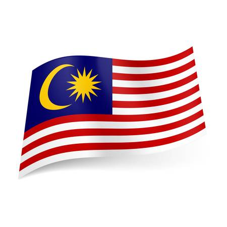 National flag of Malaysia: red and white horizontal stripes with yellow crescent moon and 14-pointed star in blue square.